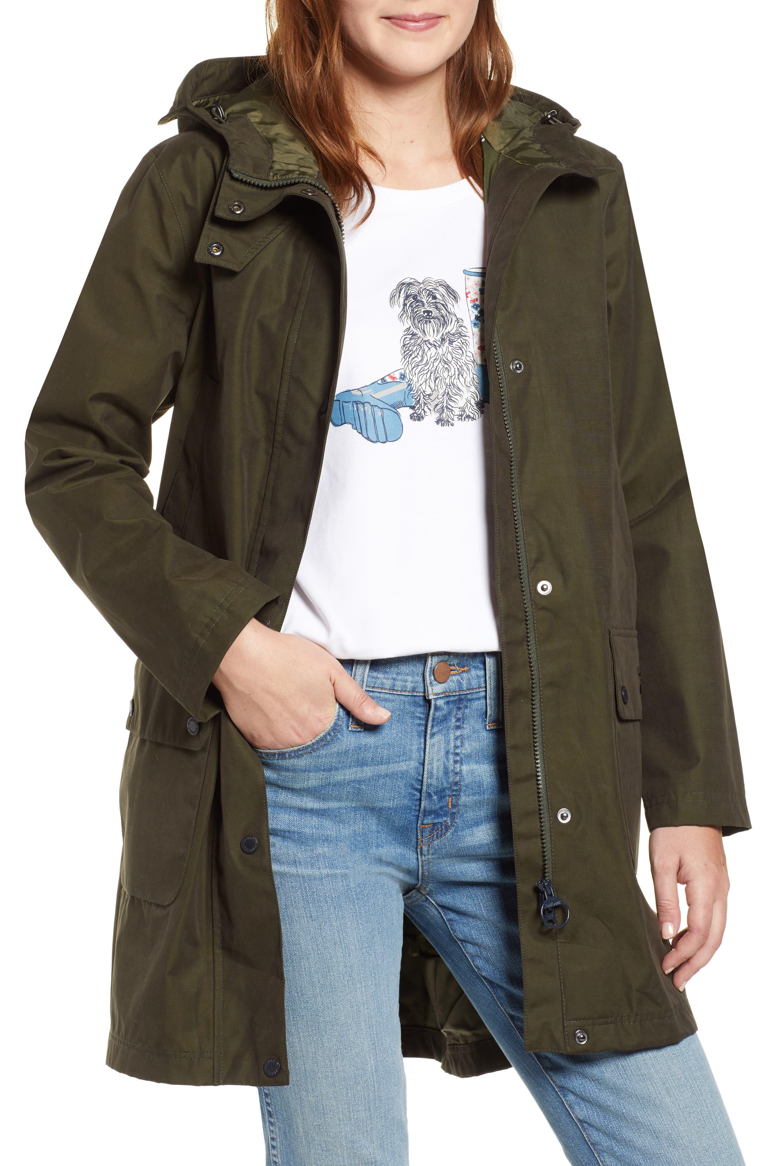 Barbour Barogram Waterproof Hooded Jacket, US / 14 UK - Green