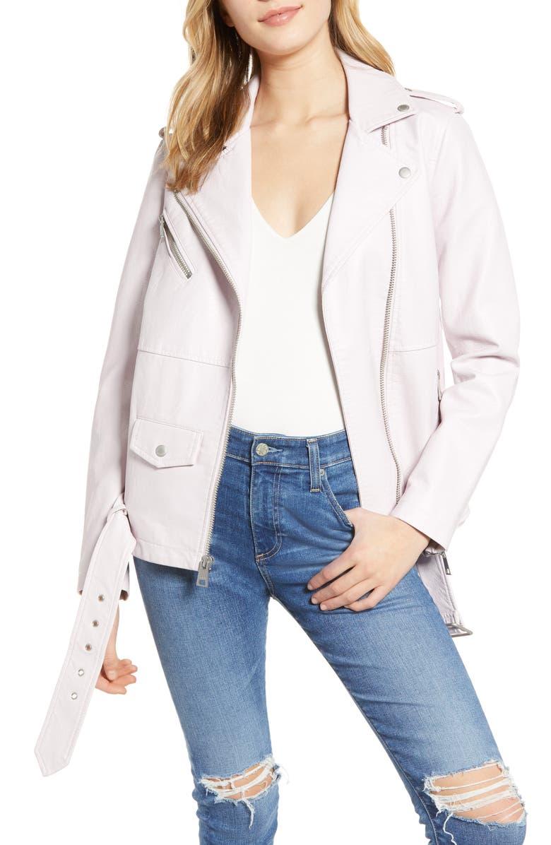 LEVI'S<SUP>®</SUP> Oversize Faux Leather Moto Jacket, Main, color, BLUSH