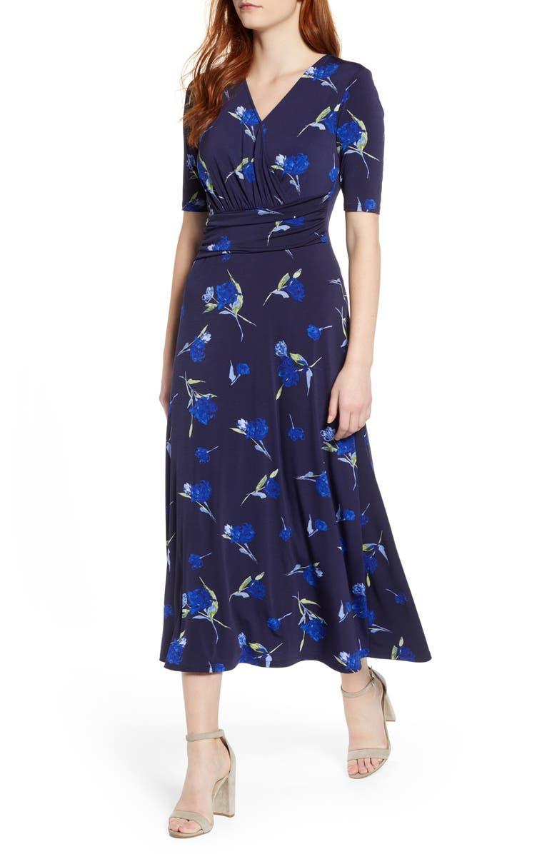 CHAUS Dashing Rose Midi Dress, Main, color, EVENING NA