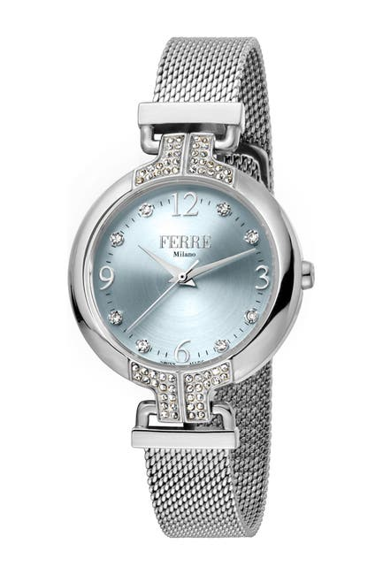Image of Ferre Milano Women's Crystal Accented Mesh Bracelet Watch, 32mm