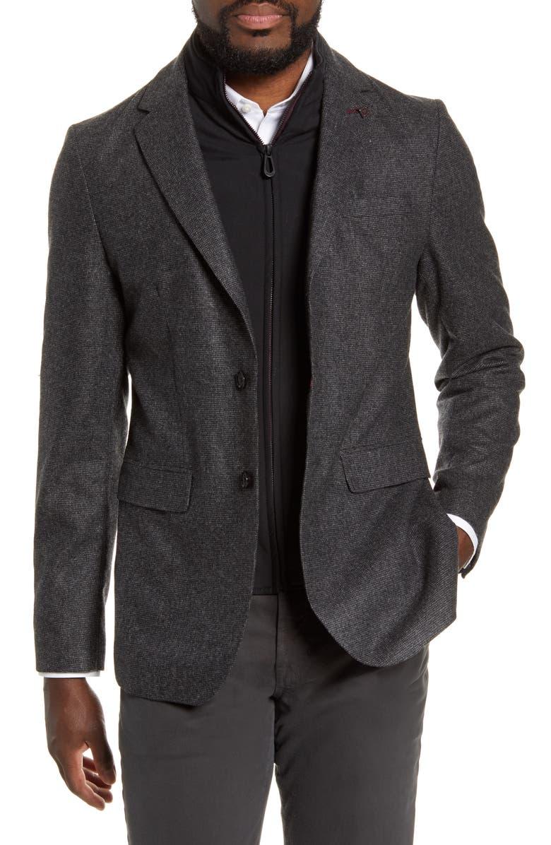 TED BAKER LONDON Trim Fit Wool Blend Blazer, Main, color, GREY