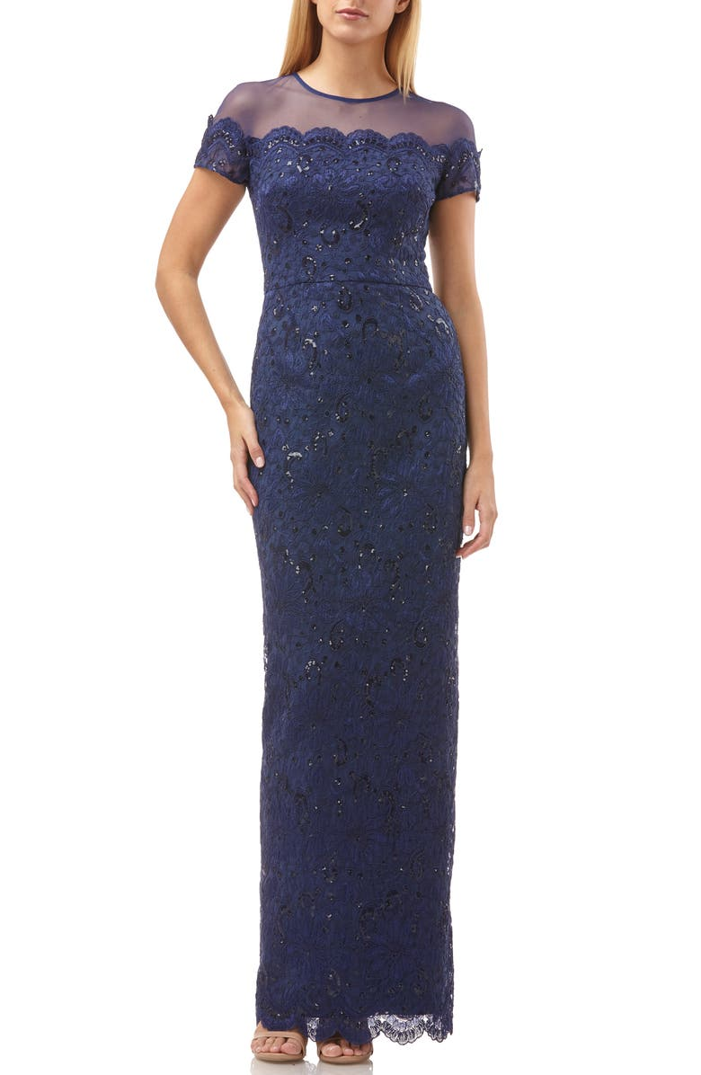 JS COLLECTIONS Sequin Lace Gown, Main, color, 410