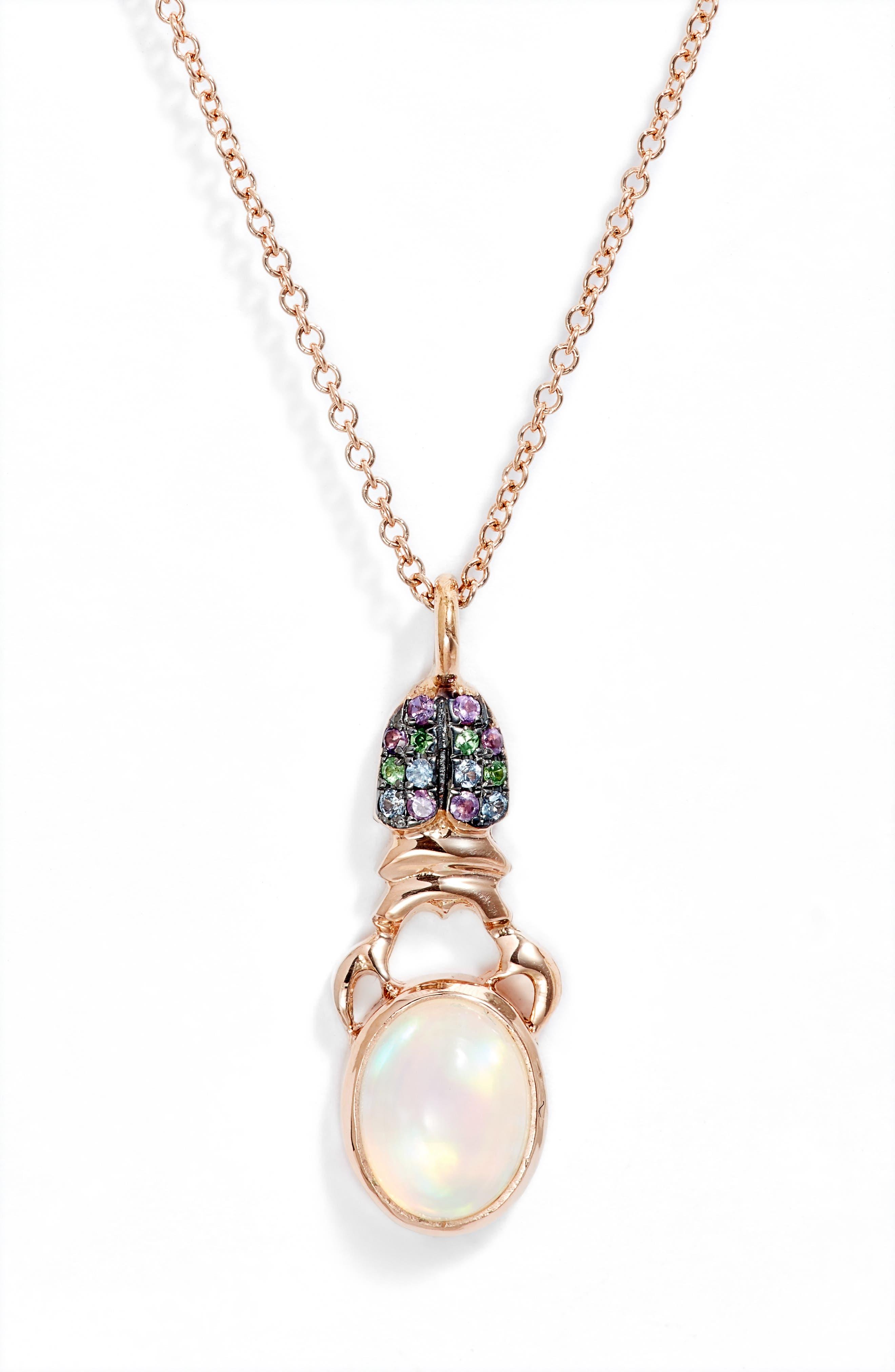 Khepri Pave & Opal Pendant Necklace