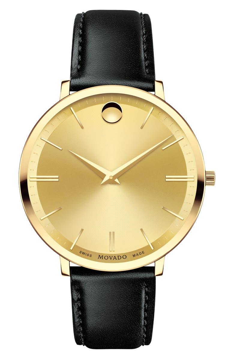 MOVADO Ultraslim Leather Strap Watch, 35mm, Main, color, 012