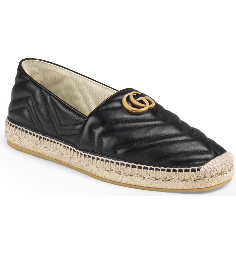 GUCCI Alejandro Quilted Espadrille, Main, color, NERO