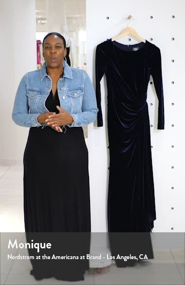 Long Sleeve Velvet Gown, sales video thumbnail