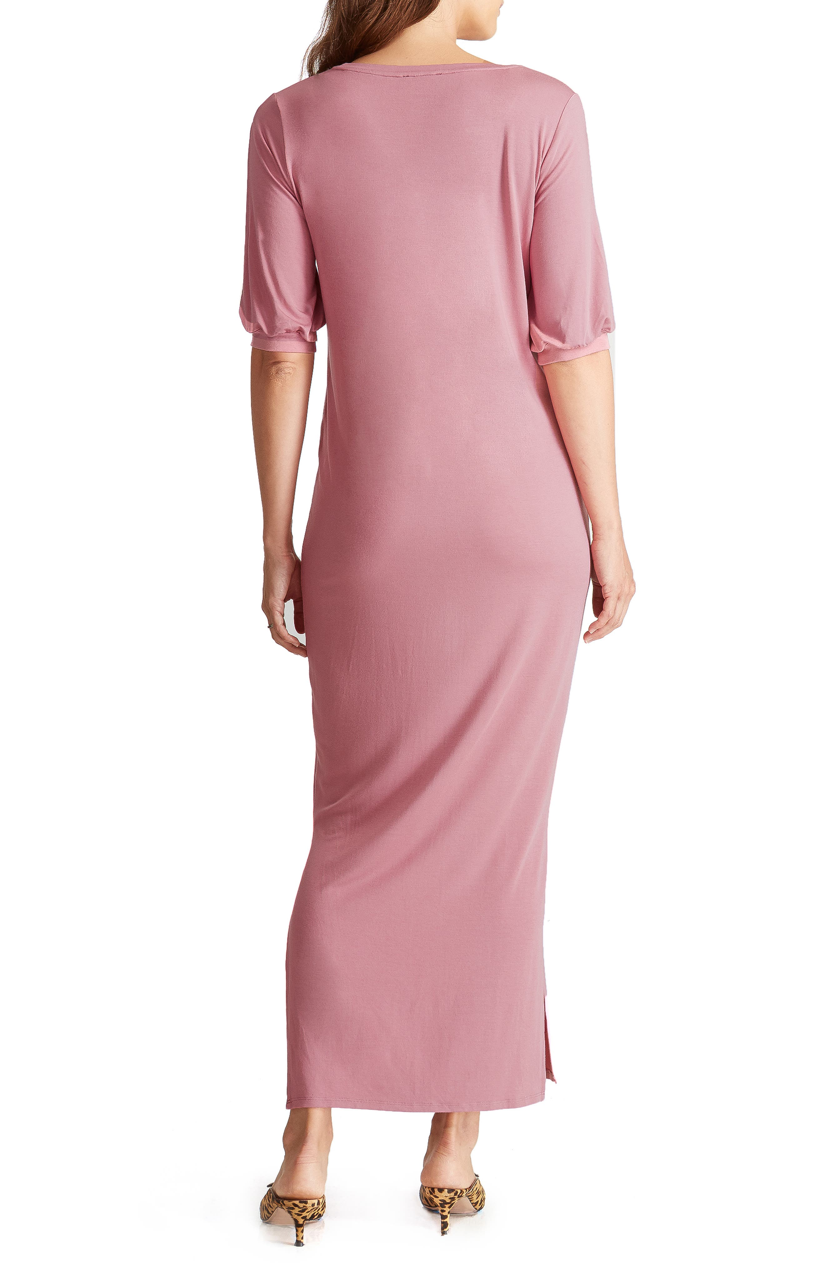 ,                             Split Sleeve Knit Maternity Maxi Dress,                             Alternate thumbnail 9, color,                             659