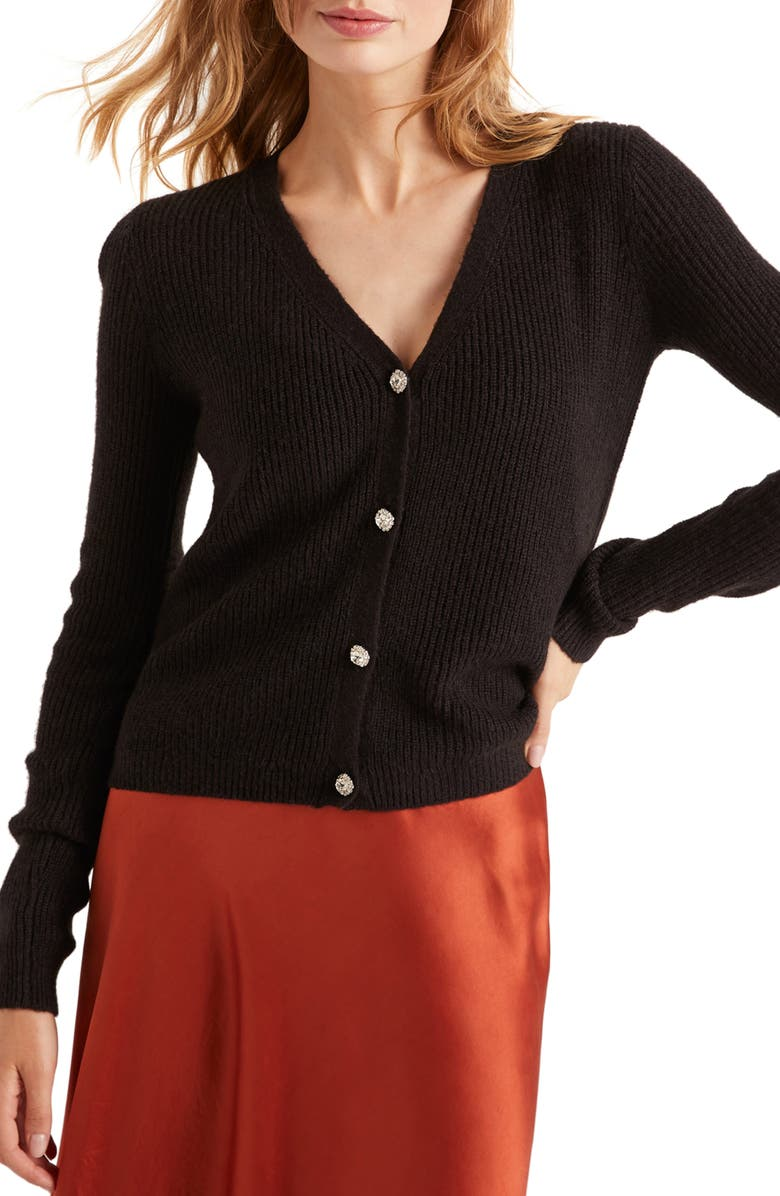 BODEN Maggie Jeweled Button Ribbed Cardigan, Main, color, BLACK