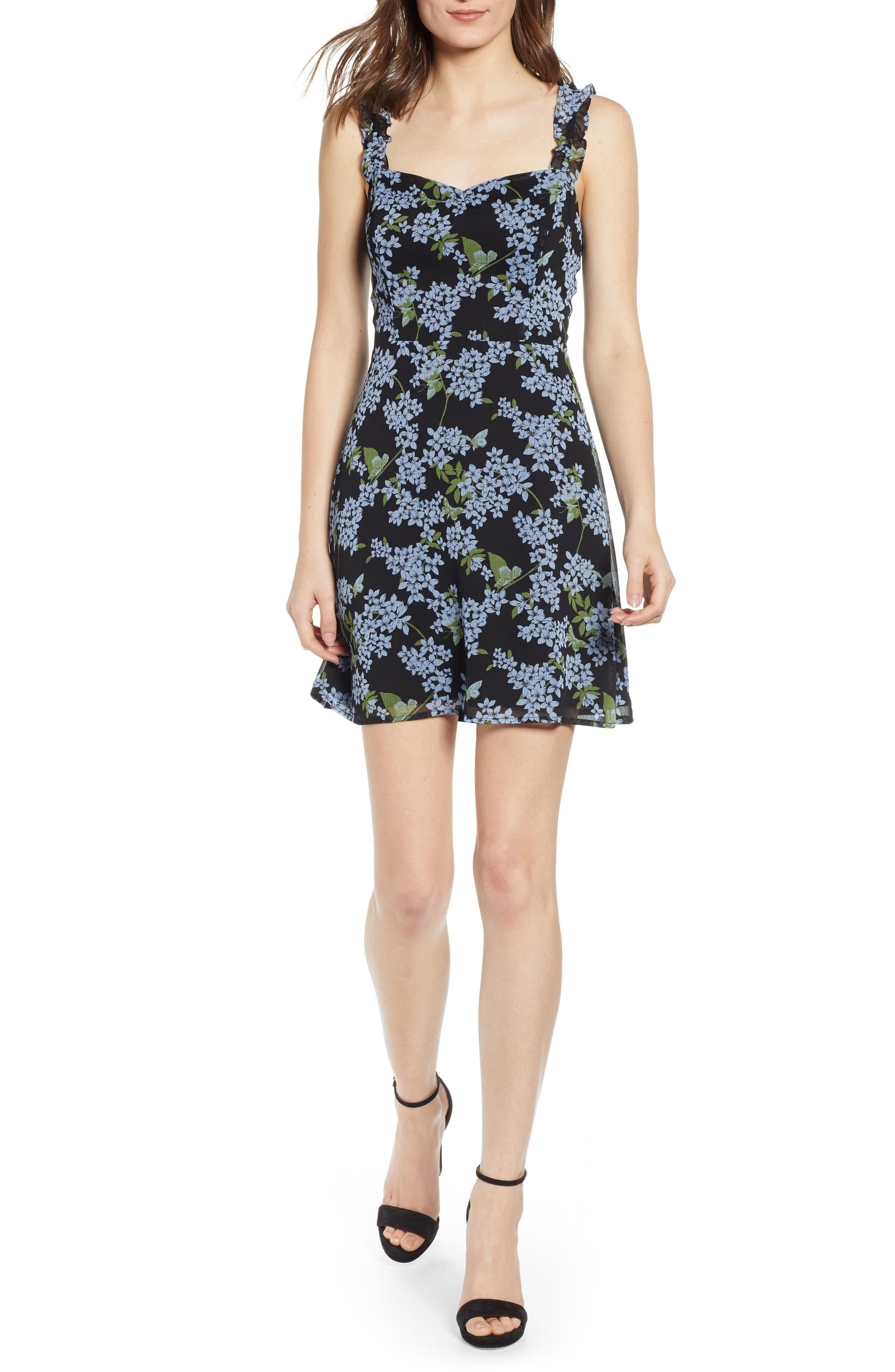 ,                             Stella Ruffle Strap Minidress,                             Main thumbnail 1, color,                             BLACK BLUE FLORAL