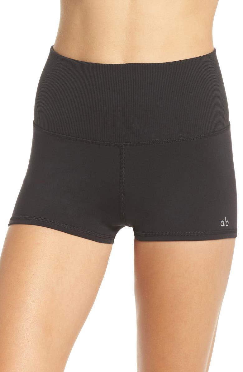 ALO Aura High Waist Shorts, Main, color, 001