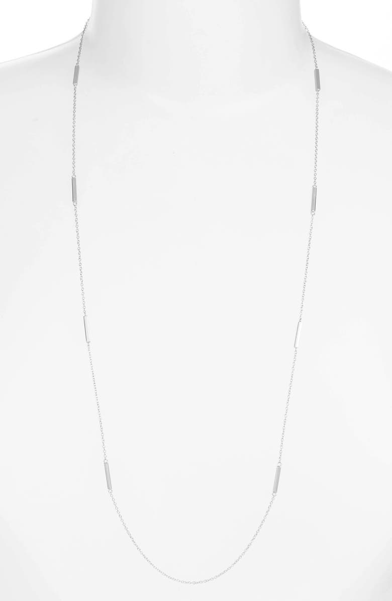 JENNIFER ZEUNER Long Bar Station Necklace, Main, color, SILVER