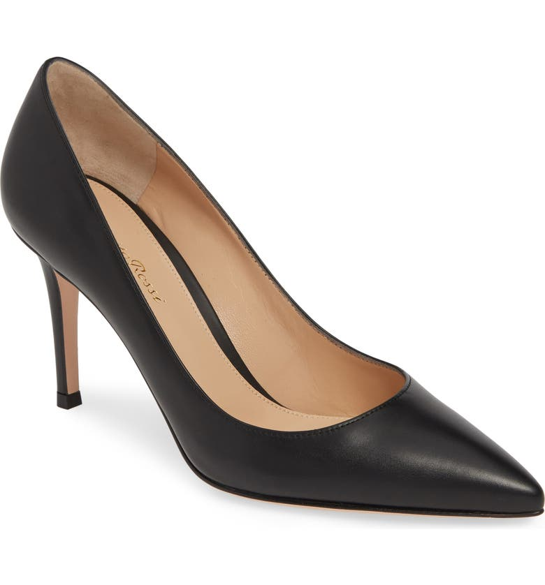 GIANVITO ROSSI Pointy Toe Pump, Main, color, BLACK LEATHER