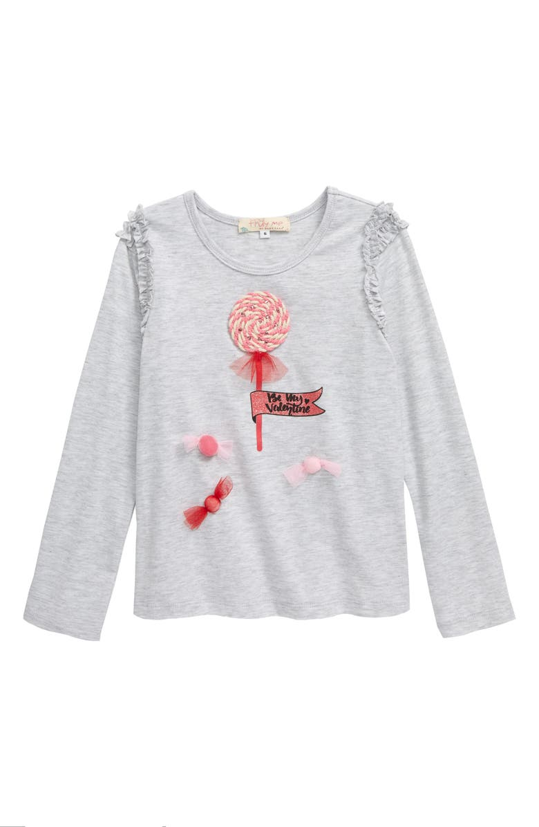 TRULY ME Candy Embellished Long Sleeve Graphic Tee, Main, color, HEATHER GREY
