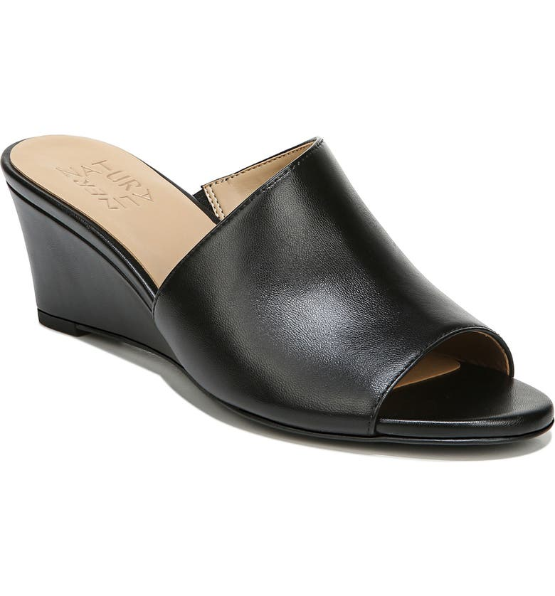 NATURALIZER Sansa Wedge Slide Sandal, Main, color, BLACK LEATHER