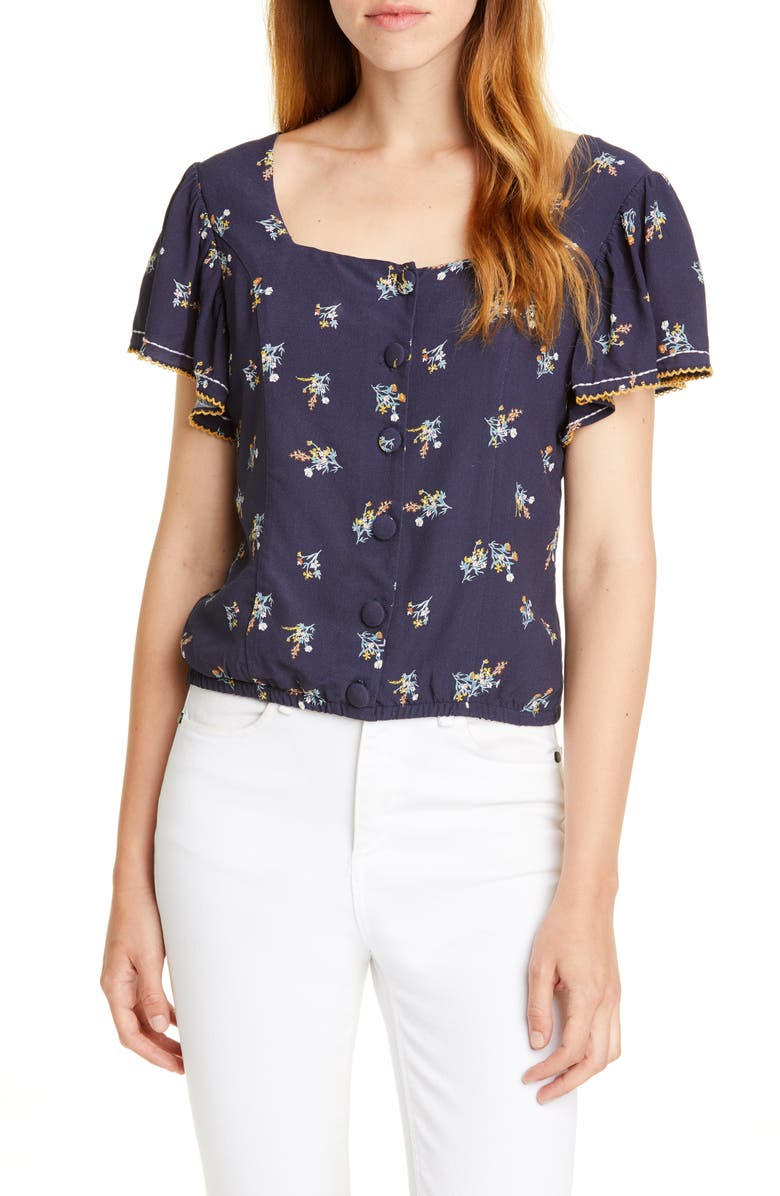 DOLAN Embroidered Square Neck Top, Main, color, NAVY WILD ASTER PRINT