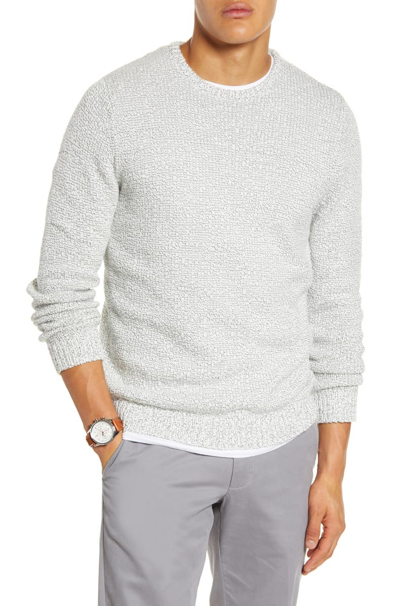 1901 Reverse Stitch Crewneck Sweater, Main, color, WHITE BLACK TWIST