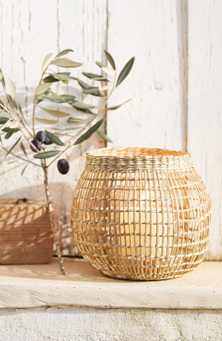 THE WHITE COMPANY Seagrass Basket Candleholder, Main, color, 200