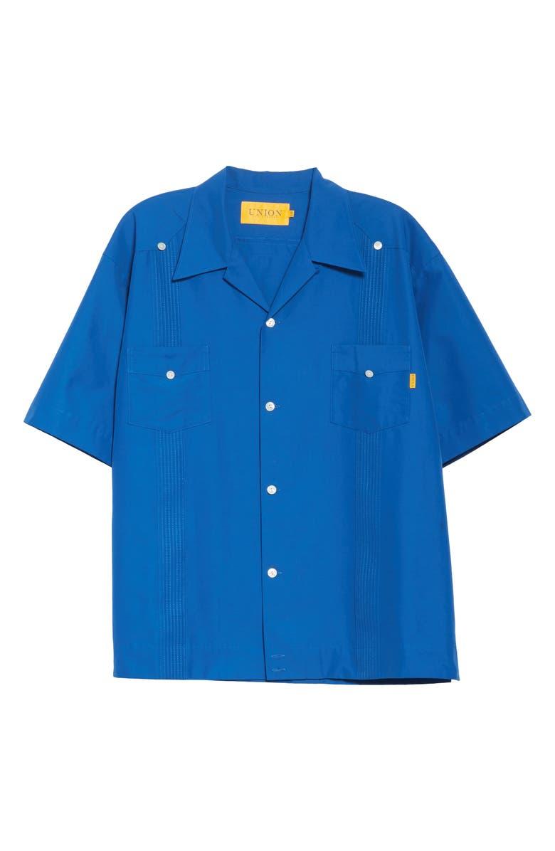 UNION LOS ANGELES Guyaberra Short Sleeve Button-Up Camp Shirt, Main, color, BLUE