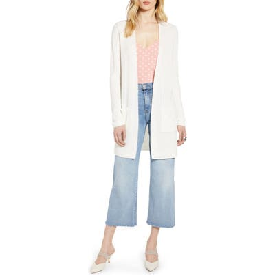 Halogen Long Ribbed Cardigan, Ivory