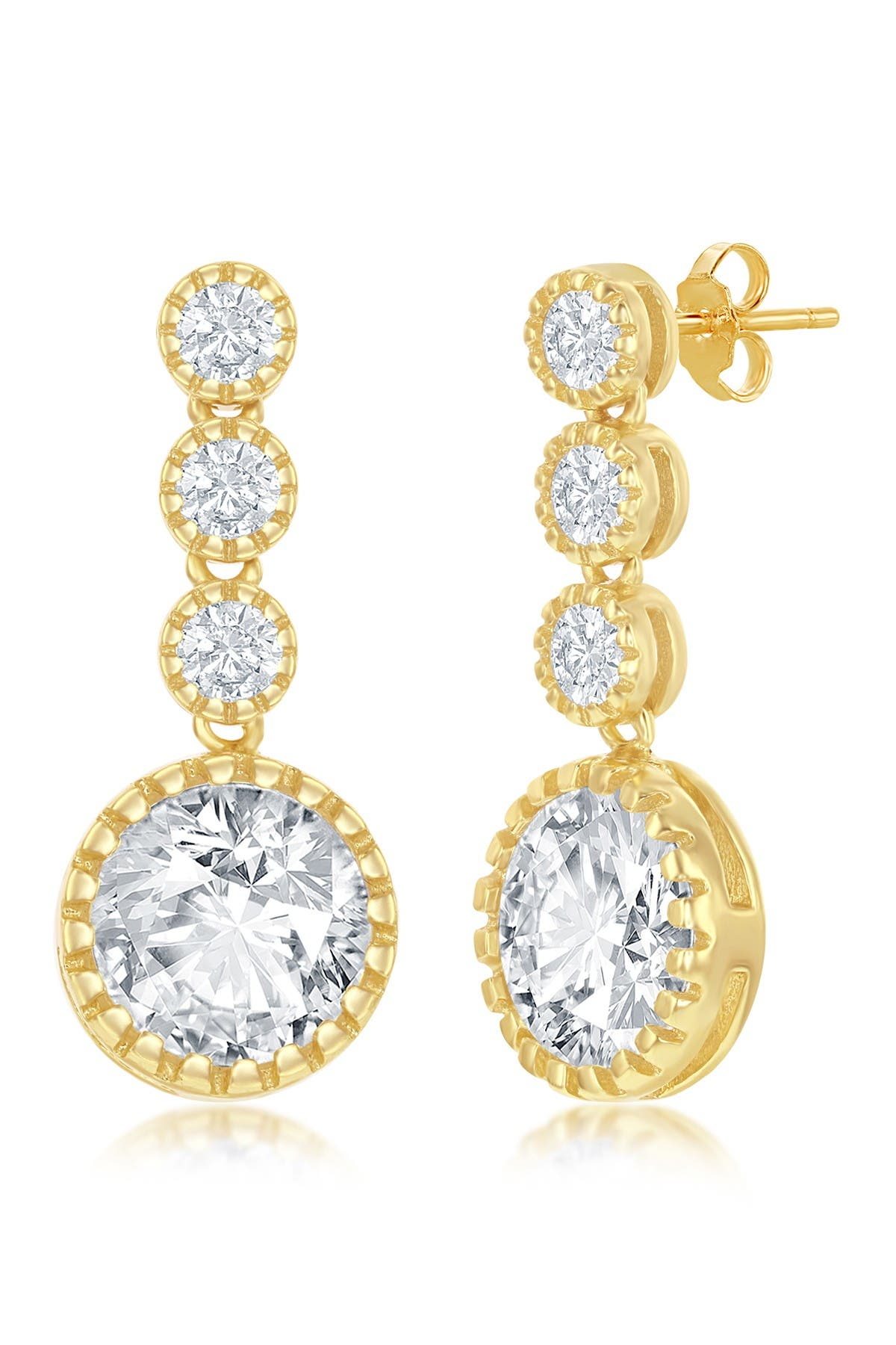 Image of Simona Jewelry 14K Yellow Gold Plated Sterling Silver CZ Drop Earrings