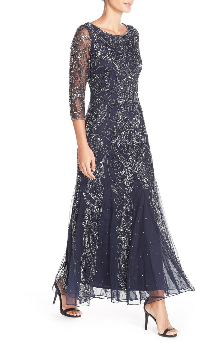 Best 1920s Prom Dresses – Great Gatsby Style Gowns Womens Pisarro Nights Embellished Mesh Gown Size 12 - Blue $218.00 AT vintagedancer.com