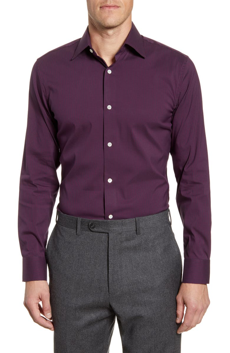 BONOBOS Trim Fit Houndstooth Check Dress Shirt, Main, color, QUILL SONIC PLUM