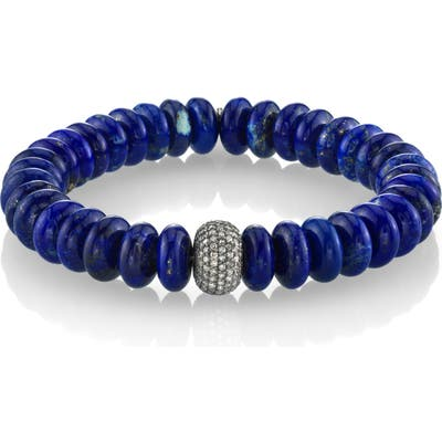 Sheryl Lowe Lapis Bracelet With Pave Diamonds