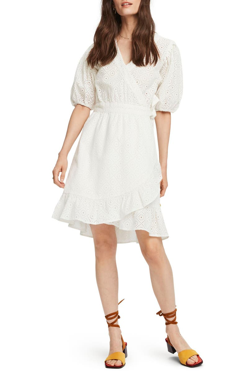 SCOTCH & SODA Broderie Anglaise Wrap Dress, Main, color, WHITE