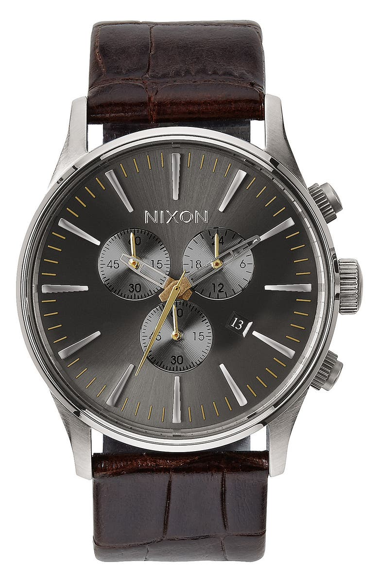 NIXON 'Sentry Chrono' Embossed Leather Strap Watch, 42mm, Main, color, BROWN/ GREY/ SILVER