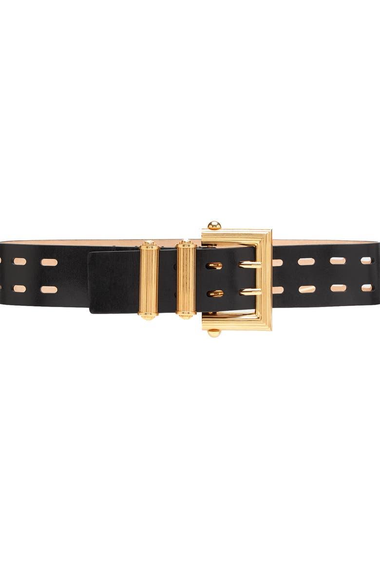 VERSACE FIRST LINE Square Buckle Laser Cut Belt, Main, color, 001