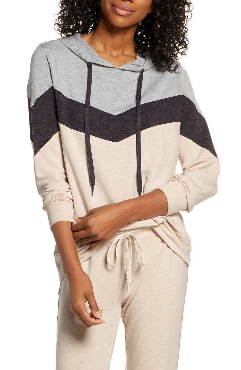 PJ SALVAGE Lounge Essentials Colorblock Hoodie, Main, color, OATMEAL