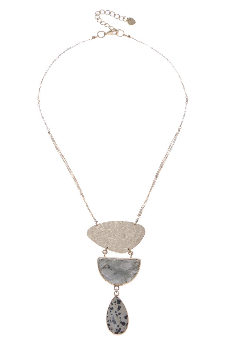 NAKAMOL CHICAGO Tier Stone Necklace, Main, color, DALMATIAN LABRADORITE BROWN