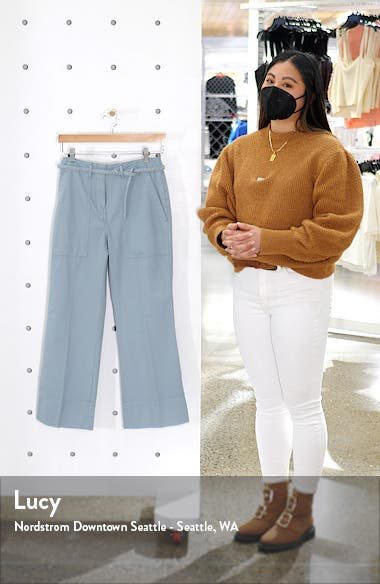 Tea Dye Crop Bootcut Cotton Chino Pants, sales video thumbnail