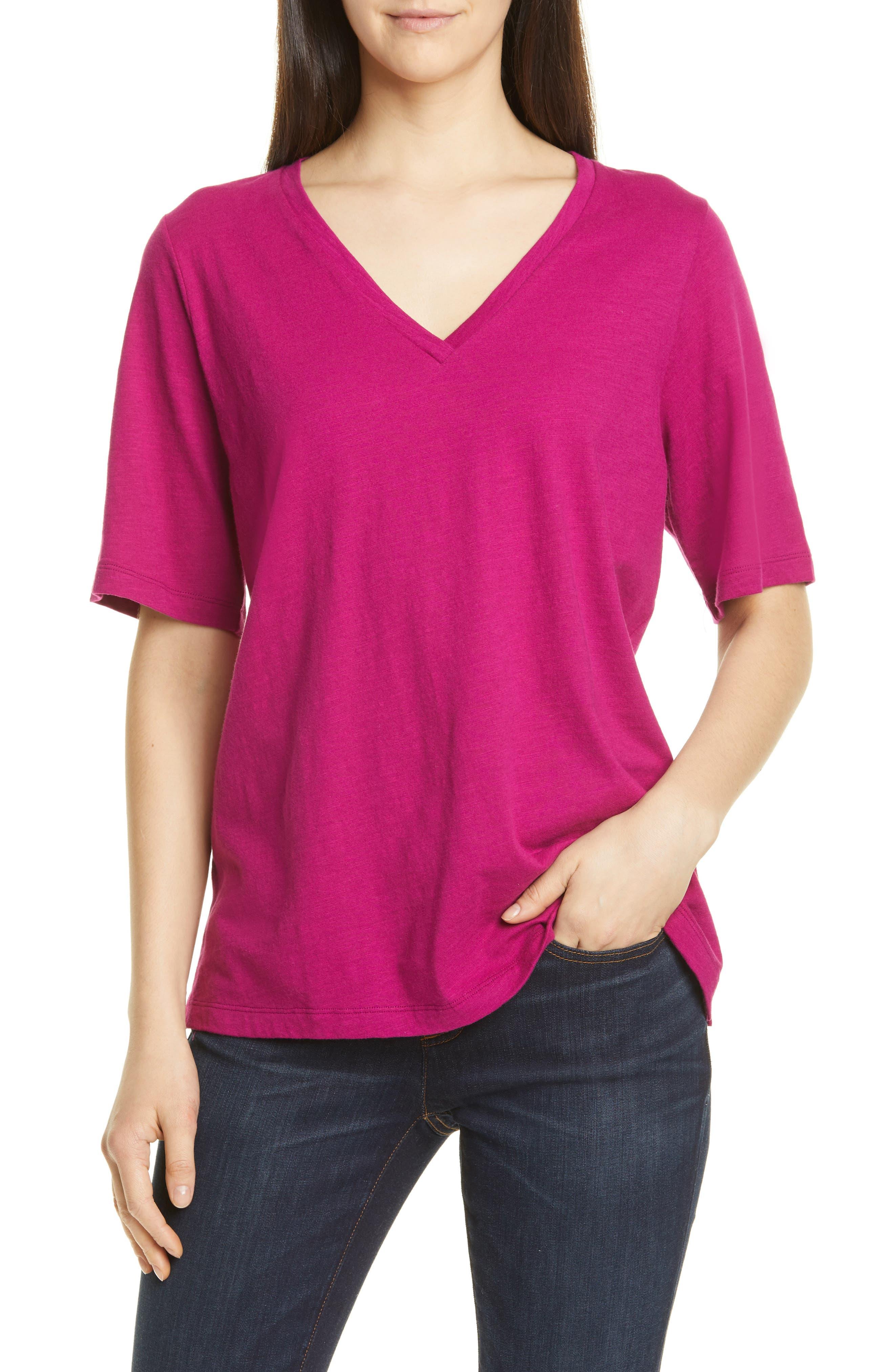 Eileen Fisher V-Neck Organic Cotton Tee, Pink