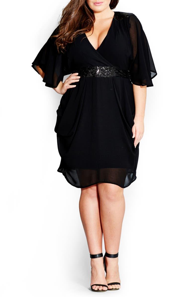 CITY CHIC Sequin Wrap Front Dress, Main, color, 001