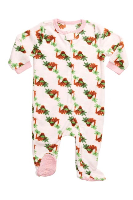Image of Leveret Pink Dinosaur Footed Fleece Pajama