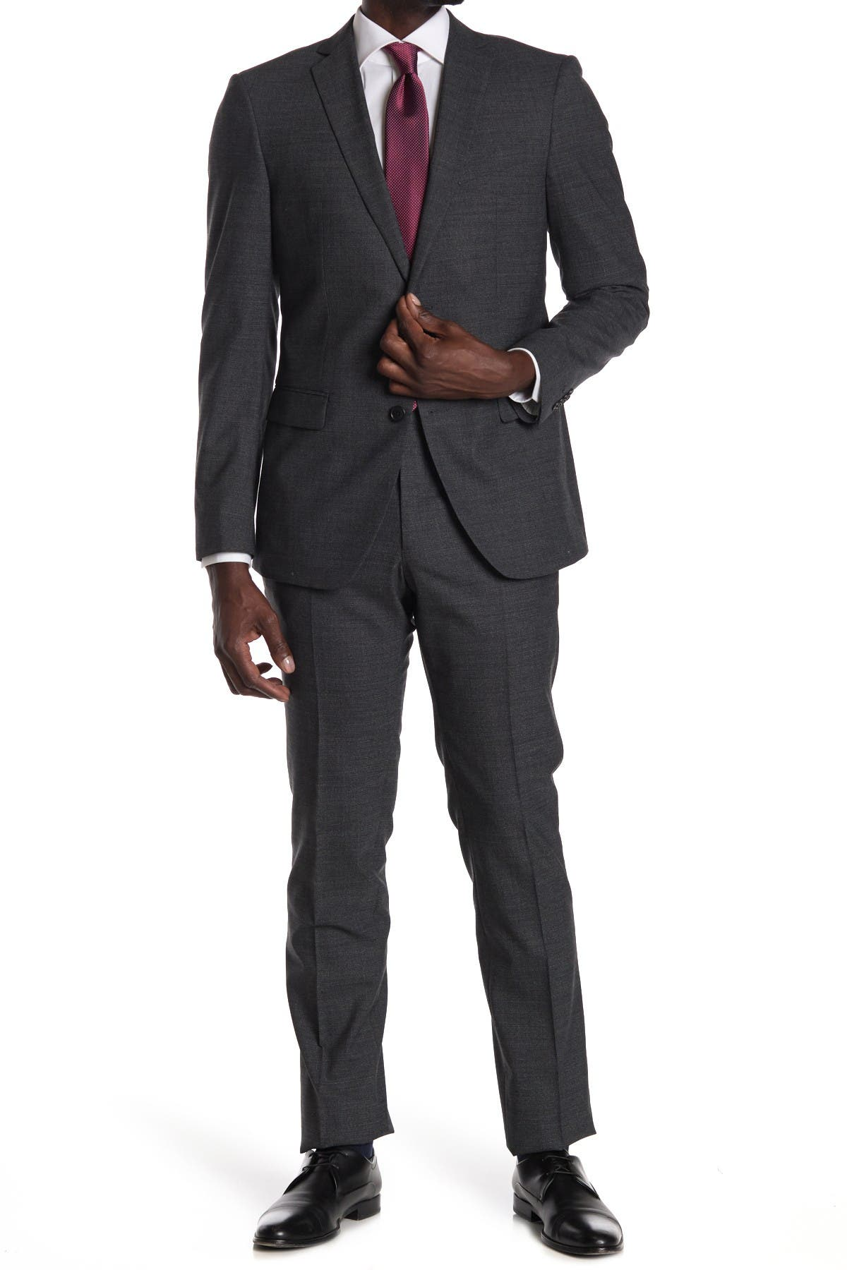 Image of John Varvatos Collection Charcoal Micro Print Two Button Notch Lapel Suit