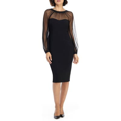 Maggy London Illusion Lace Long Sleeve Cocktail Dress, Black