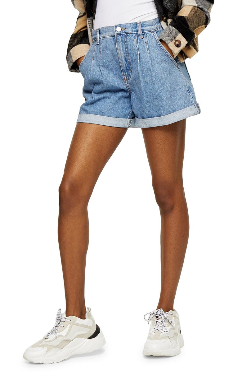 TOPSHOP Balloon Fit Denim Shorts, Main, color, MID DENIM