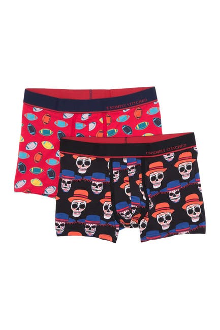 Image of Unsimply Stitched Printed Trunks - Pack of 2