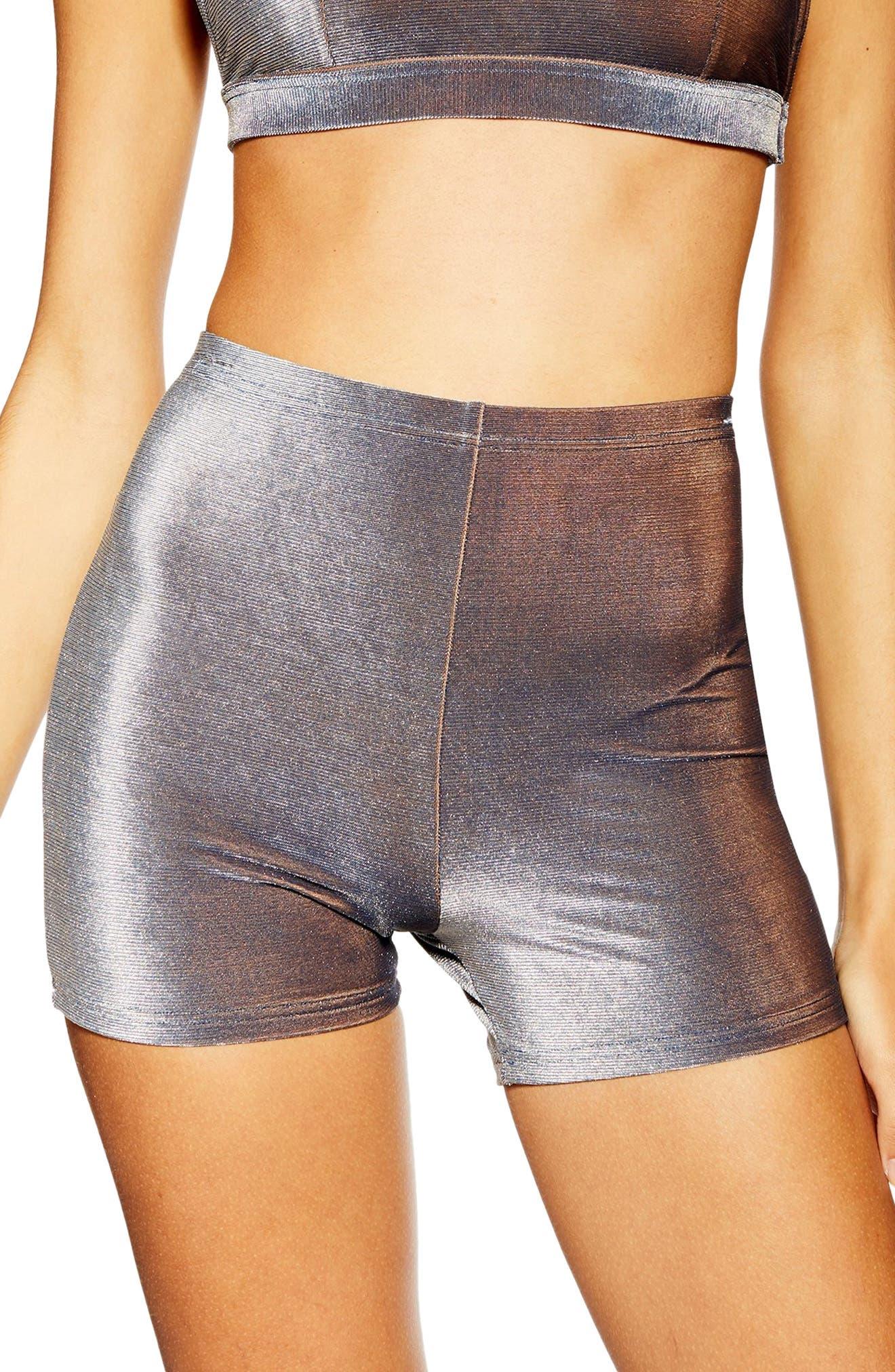 Topshop Velour Bikini Cycling Shorts, Blue