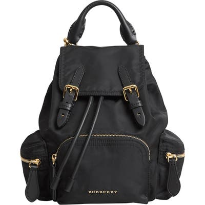 Burberry Small Rucksack Technical Nylon & Leather Backpack - Black