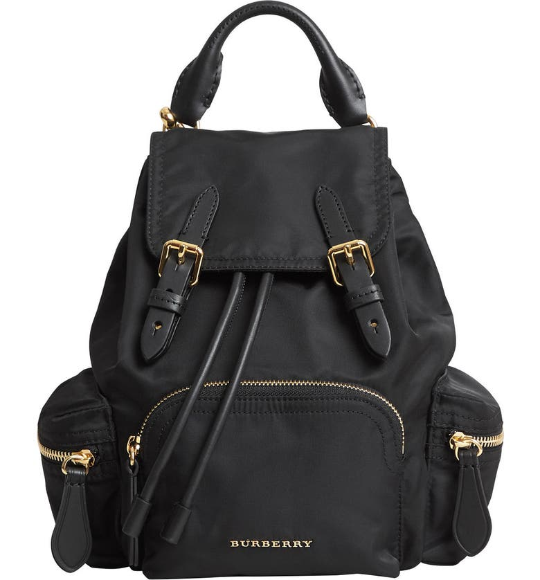 BURBERRY Small Rucksack Technical Nylon & Leather Backpack, Main, color, BLACK