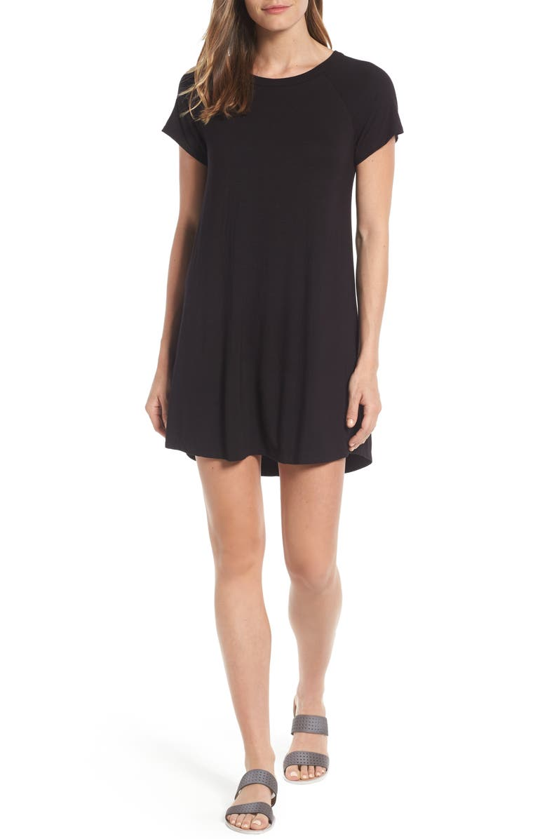 BOBEAU Back Cutout Tunic Dress, Main, color, 001