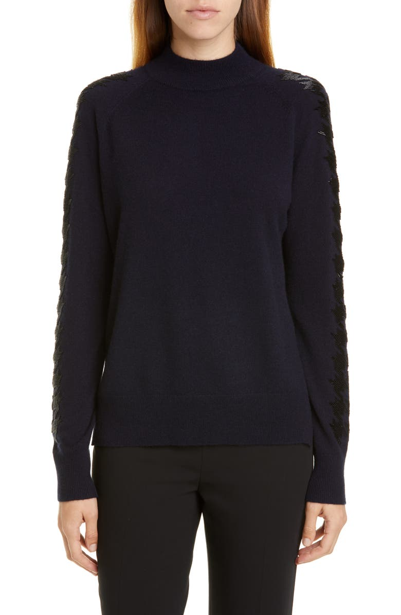 LELA ROSE Houndstooth Beading Wool & Cashmere Sweater, Main, color, NAVY