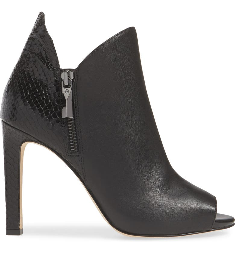 MICHAEL MICHAEL KORS Alane Open Toe Bootie, Alternate, color, BLACK NAPPA/ SNAKE PRINT