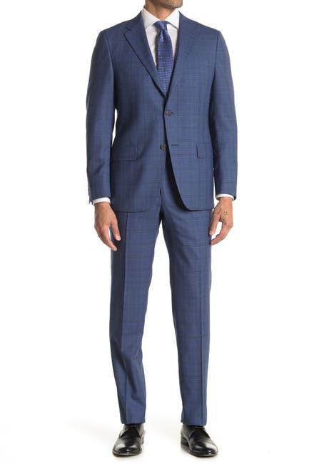 Image of Hickey Freeman Blue Plaid Regular Fit 2B Plaid 2-Piece Suit Set
