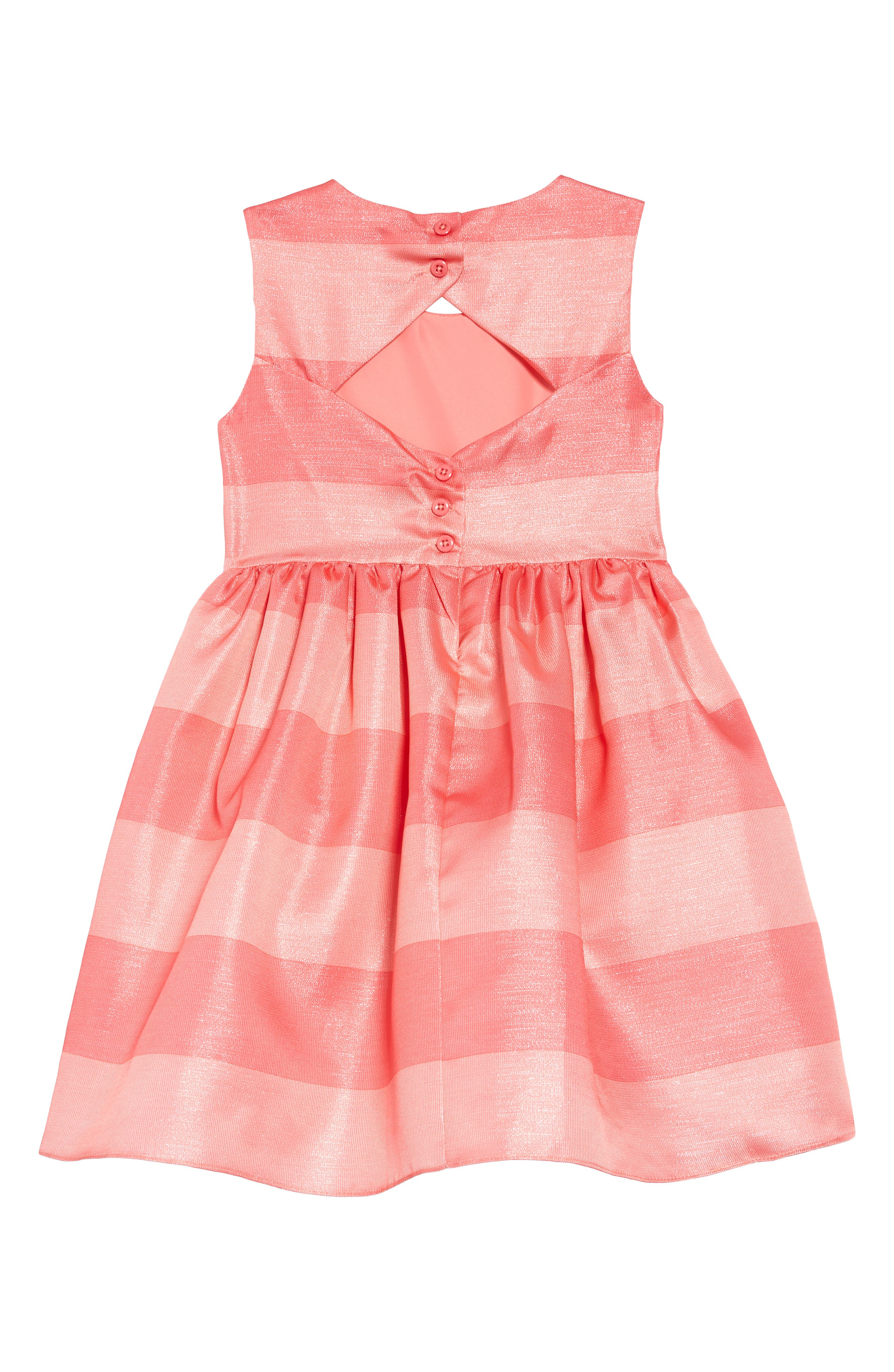 ,                             Shimmer Stripe Fit & Flare Dress,                             Alternate thumbnail 2, color,                             CORAL