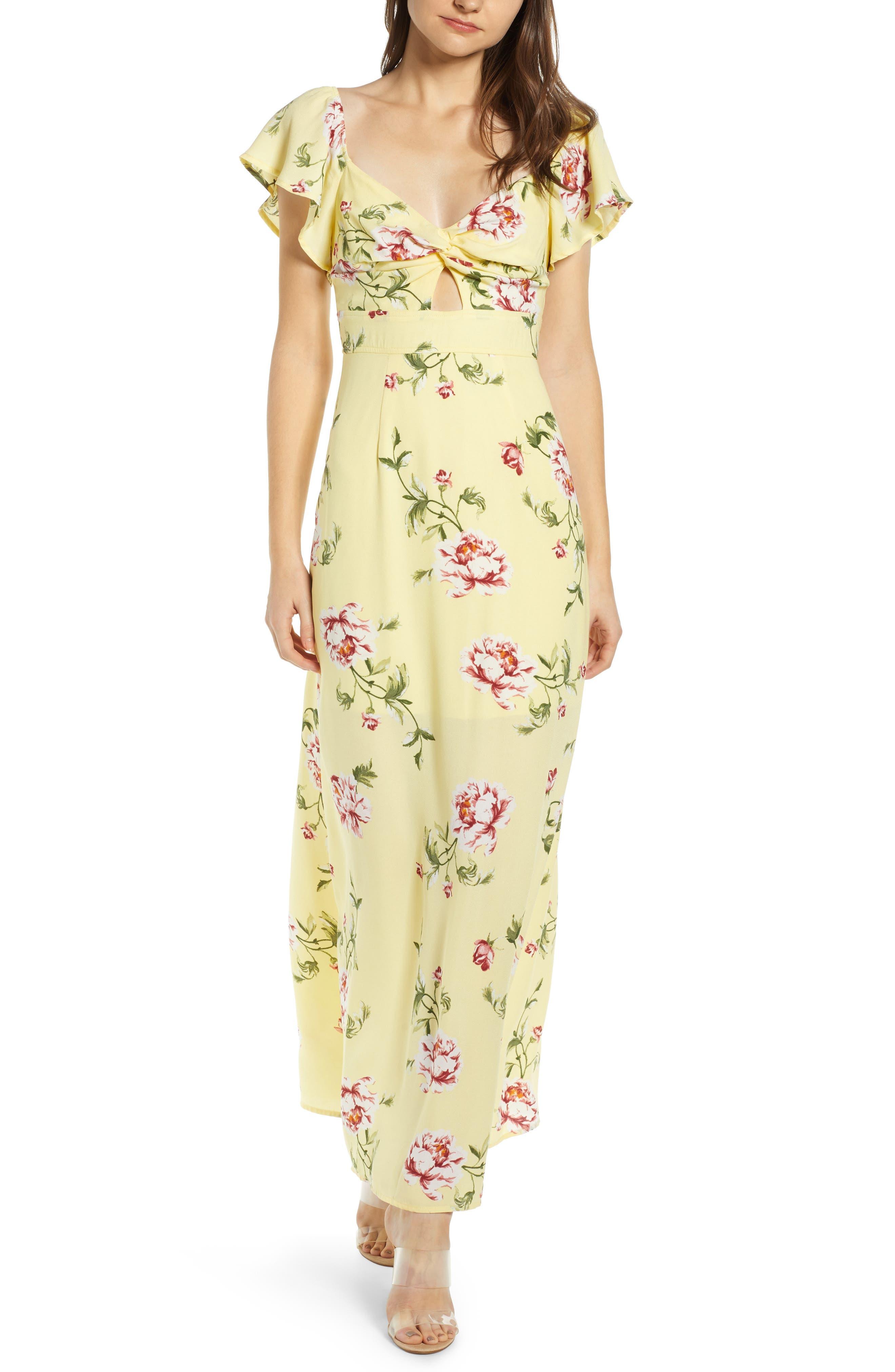 Row A Twist Front Maxi Dress, Yellow