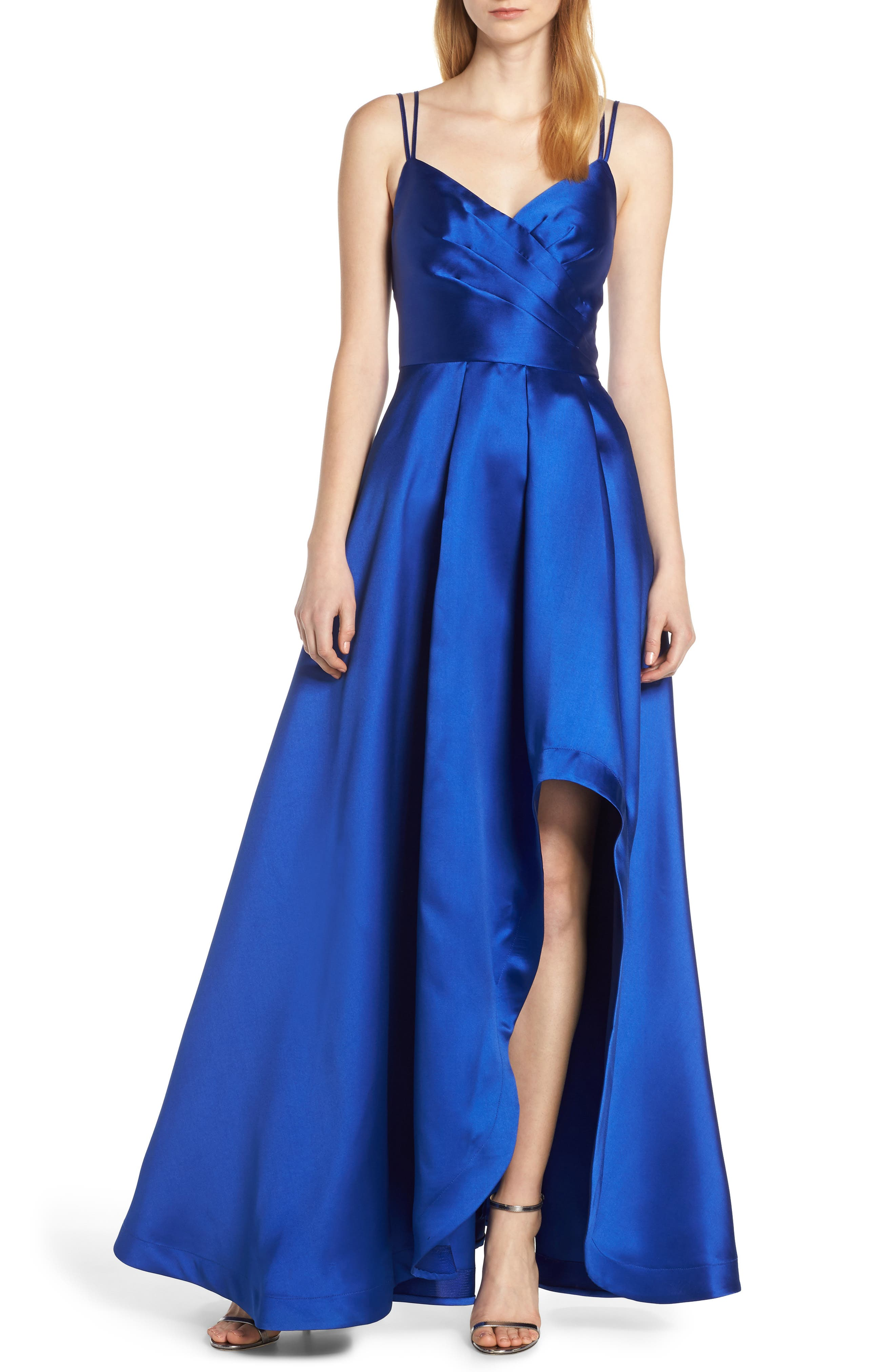 Sequin Hearts Asymmetrical High/low Satin Evening Dress, Blue